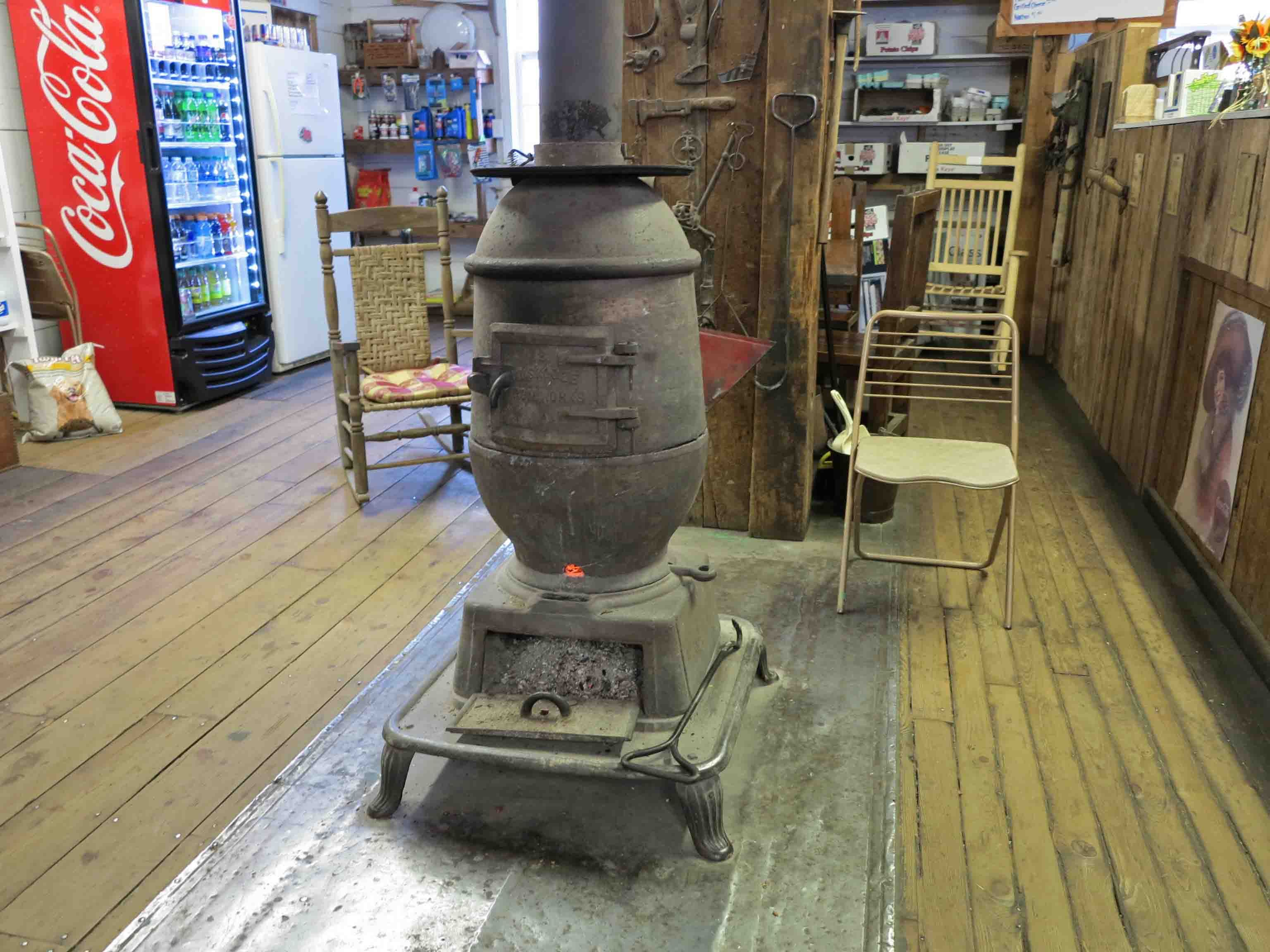 Wood stove in Hankins Country Store on Hwy 7 | Manmade in the Ozarks on missouri woods, pulaski woods, lincoln woods,
