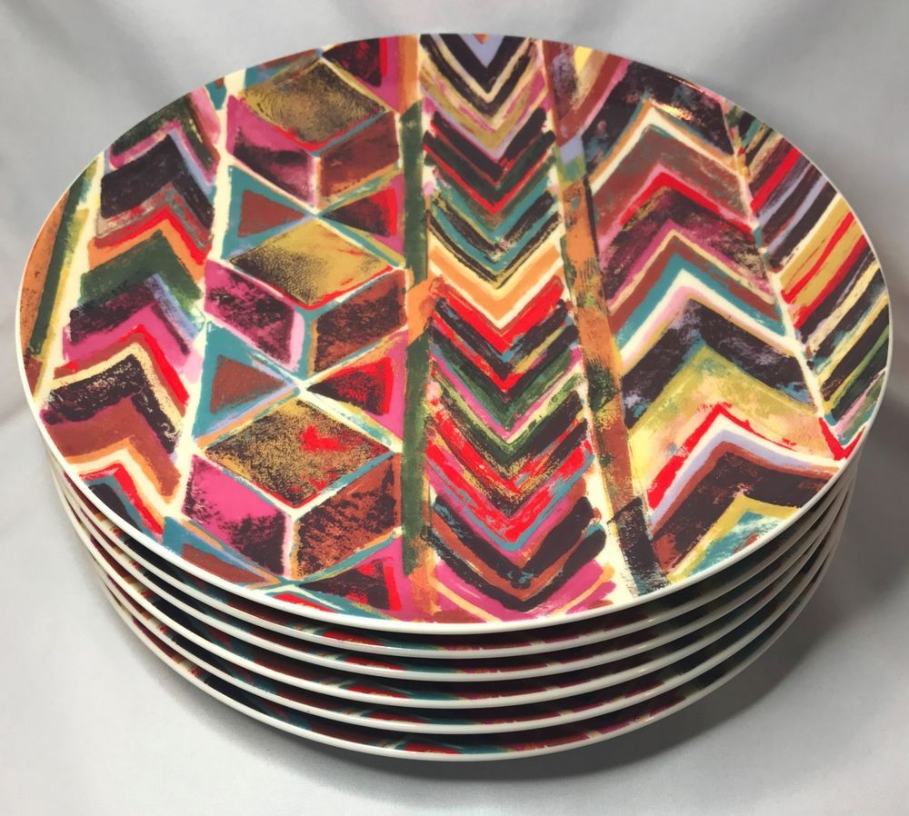 PATCH NYC / Anthropologie Multi-Colored Dinner Plate Set of 6 - Discontinued & PATCH NYC / Anthropologie Multi-Colored Dinner Plate Set of 6 ...