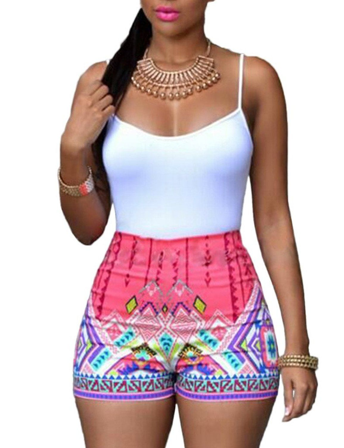 Women's Sleeveless Paisley Print Boho Beach Shorts Rompers
