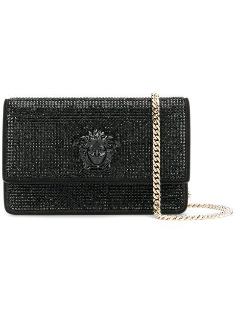 bd451b147d65 VERSACE crystal-embellished Medusa Palazzo shoulder bag.  versace  bags  shoulder  bags  leather  crystal