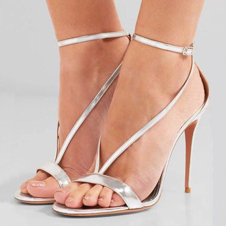 962376034421ae Women Ladies Party Shoes Ankle Strap High Heel Sandals Metallic Pale Gold  Silver  fashion