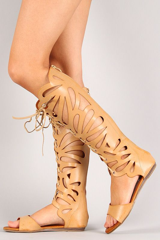 3ed002117ccc Ongee-06 Cut Out Lace Up Gladiator Knee High Flat Sandal