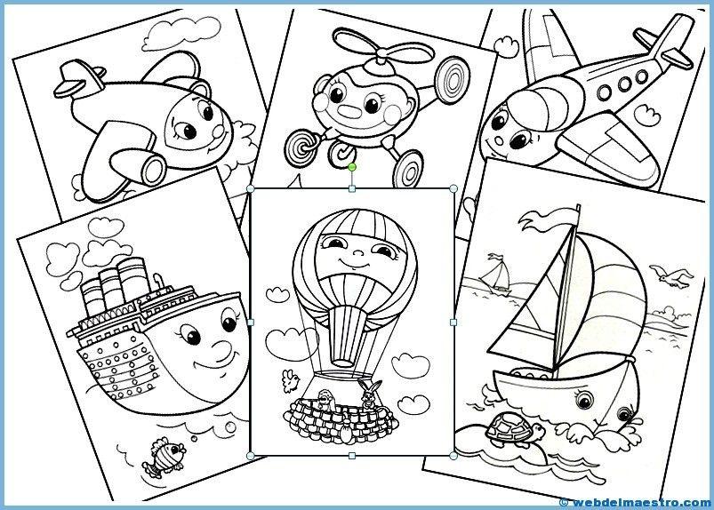 II Dibujos infantiles para colorear Medios de transporte