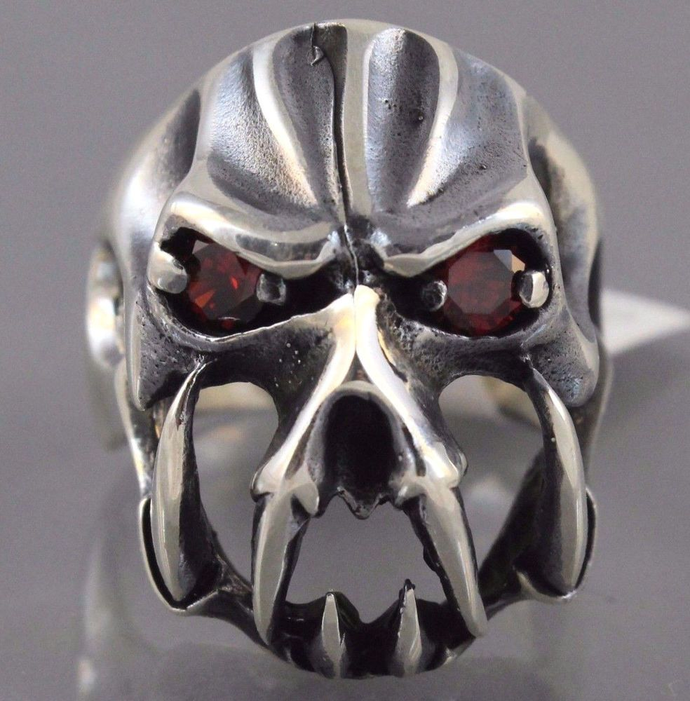 Gothic Biker 925 Sterling Silver Skull With Fang Statement Ruby Ring FREE Resize #Handmade #Statement