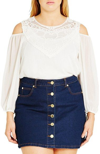 Free shipping and returns on City Chic 'Romantic Motif' Cold Shoulder Top (Plus Size) at Nordstrom.com. Cutaway shoulders add a flirty touch to a peasant top of sheer crinkled chiffon. A crochet lace yoke and billowy sleeves with tied cuffs sweeten the look.