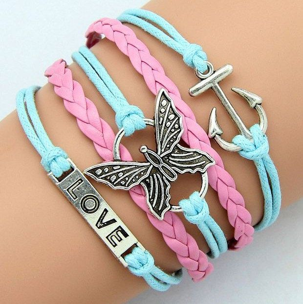 Pretty mint blue pink leather wax cord woven bracelets for girls