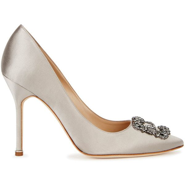 53f348285e88 ... greece manolo blahnik hangisi 90 grey satin pumps size 3 1005 liked on  a88d7 9fb08