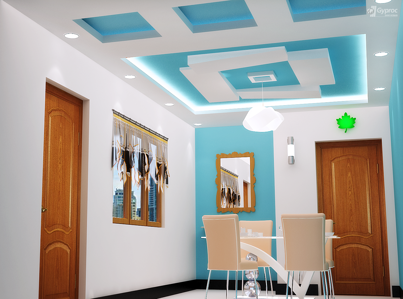 False ceiling designs for other rooms saint gobain for Latest living hall design