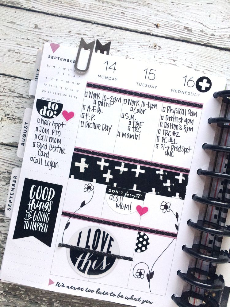 Black & White week in The Happy Planner™ of mambi Deisgn Team member Mary-Ann Maldonado | me & my BIG ideas