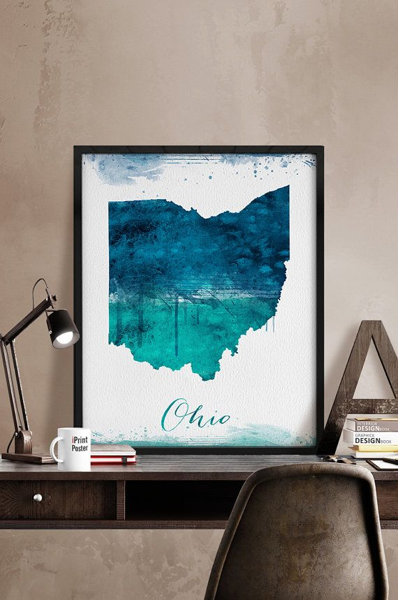 Ohio State Map Print Ohio State Map Watercolor Poster Ohio Map - State map of us ohio