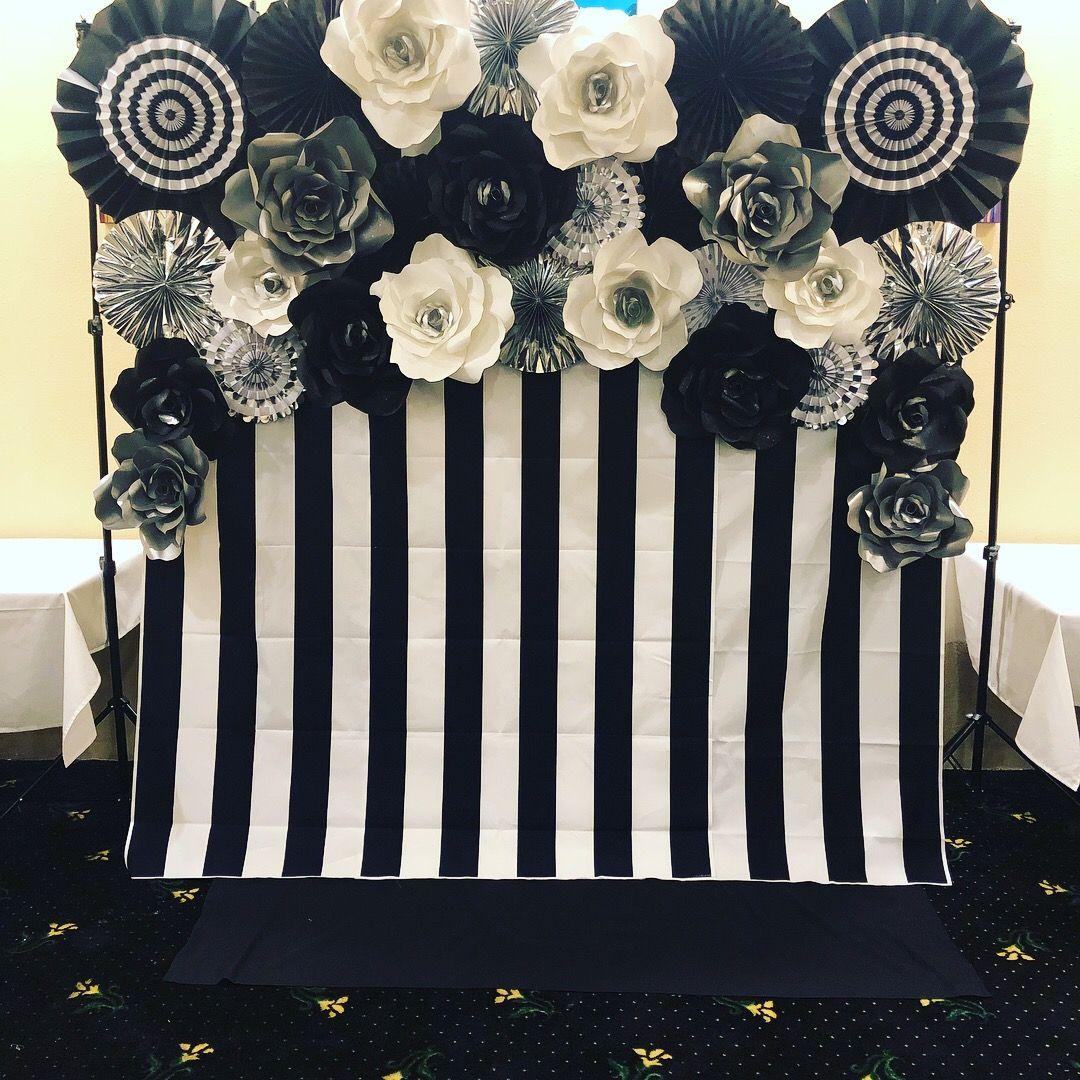 Black And White Stripes Black White Silver Giant Paper Flowers