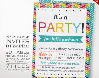 Rainbow Birthday Party Invitation Template  Rainbow Chevron