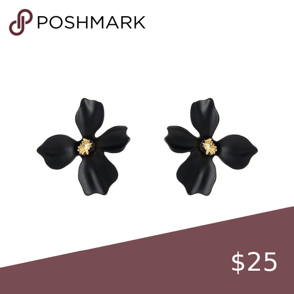 New Anthropologie Flower Garden Party Black Flower Studs Flower Earrings Studs Anthropologie Jewelry Earrings