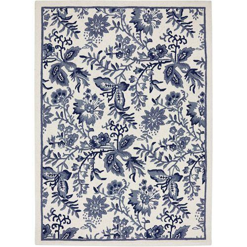 Lovely Mohawk Blue Jacobean Woven Area Rug