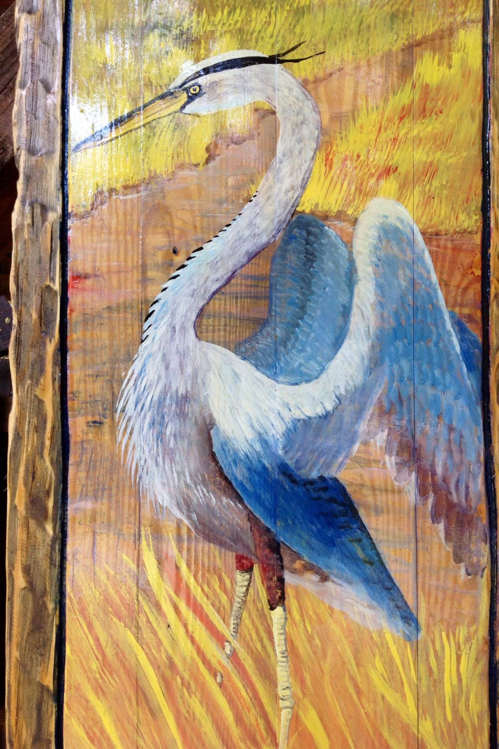 Two Blue Herons with disctrssed frame one of a kind original painting home decor wall art by wildlife artist Todd Lynd by oceanarts10 on Etsy