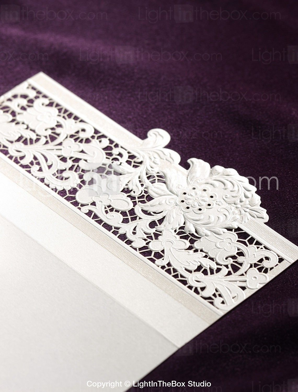 Delicate Ivory Lace Cut-out Tri-fold Wedding Invitation (Set of 50 ...
