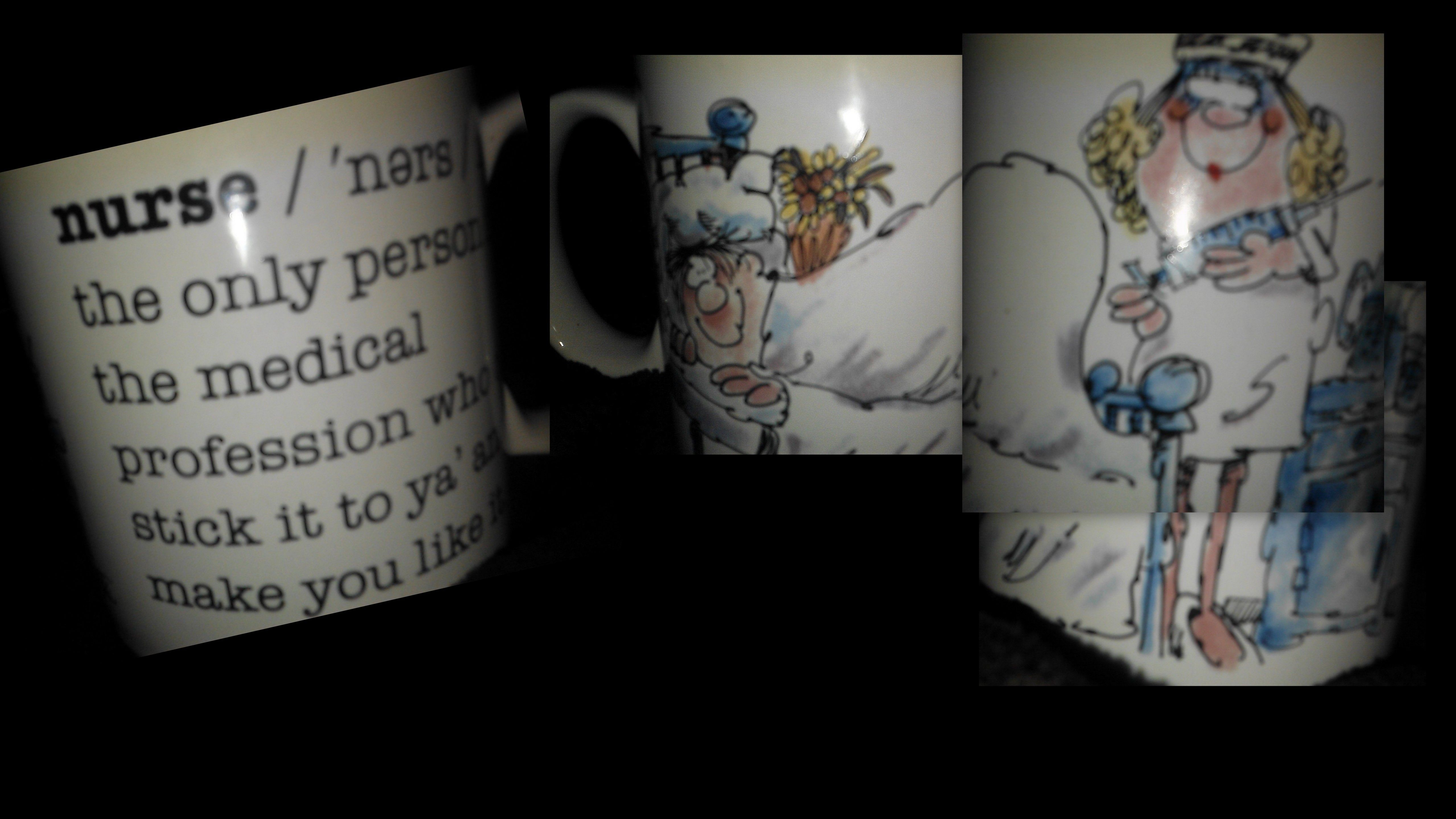My old nurse mug:  Nurse:  The only person in the medical profession that can stick it you ya and make you like it.
