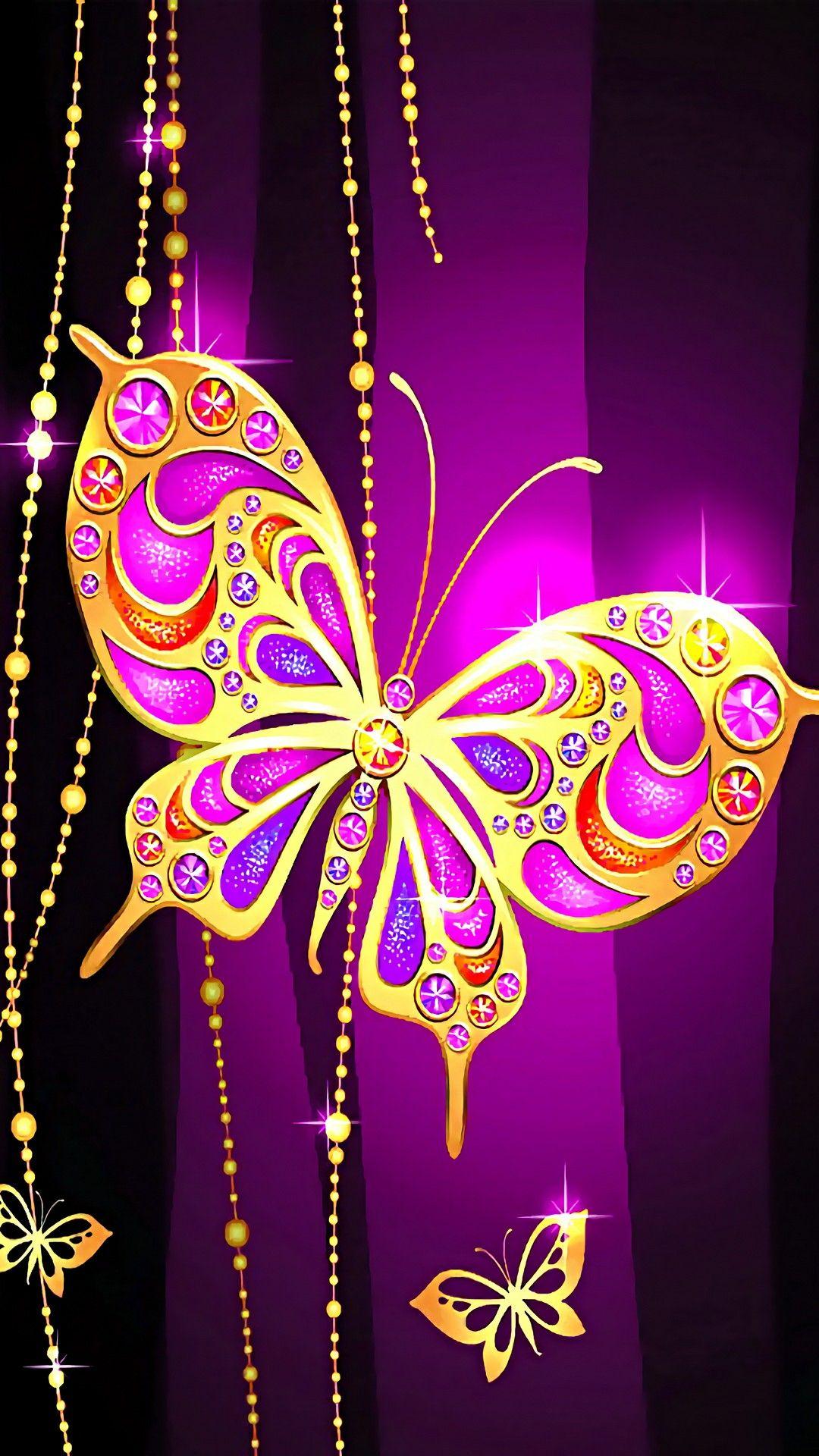 Gold n purple heart   Butterfly background, Butterfly ...