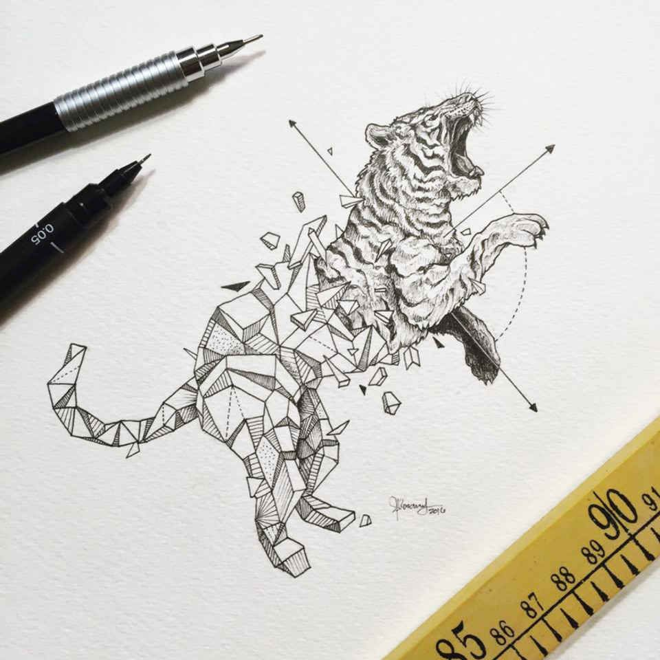 Wild Animals And Geometric Shapes Are Fused Together In Beautiful Drawings Geometric Tiger Geometric Drawing Geometric Animals