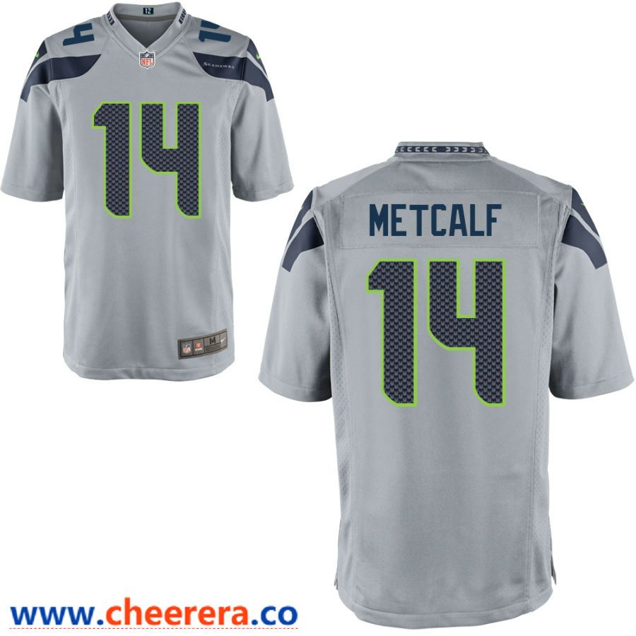 Men S Seattle Seahawks 14 Dk Metcalf Gray Stitched Nfl Nike Game Jersey Jersey Nfl Jerseys Nfl