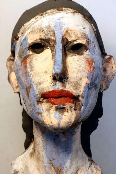 Stephen Dillon Keramik, Head, Stoneware, Engobe, Underglaze, Oxides, ca. 50cm, 2012