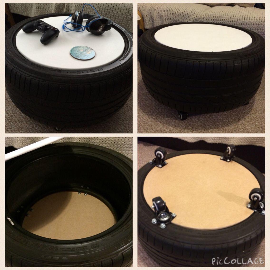 Recycled bridgestone run flat tyre new coffee table on wheels recycled bridgestone run flat tyre new coffee table on wheels with internal storage geotapseo Image collections