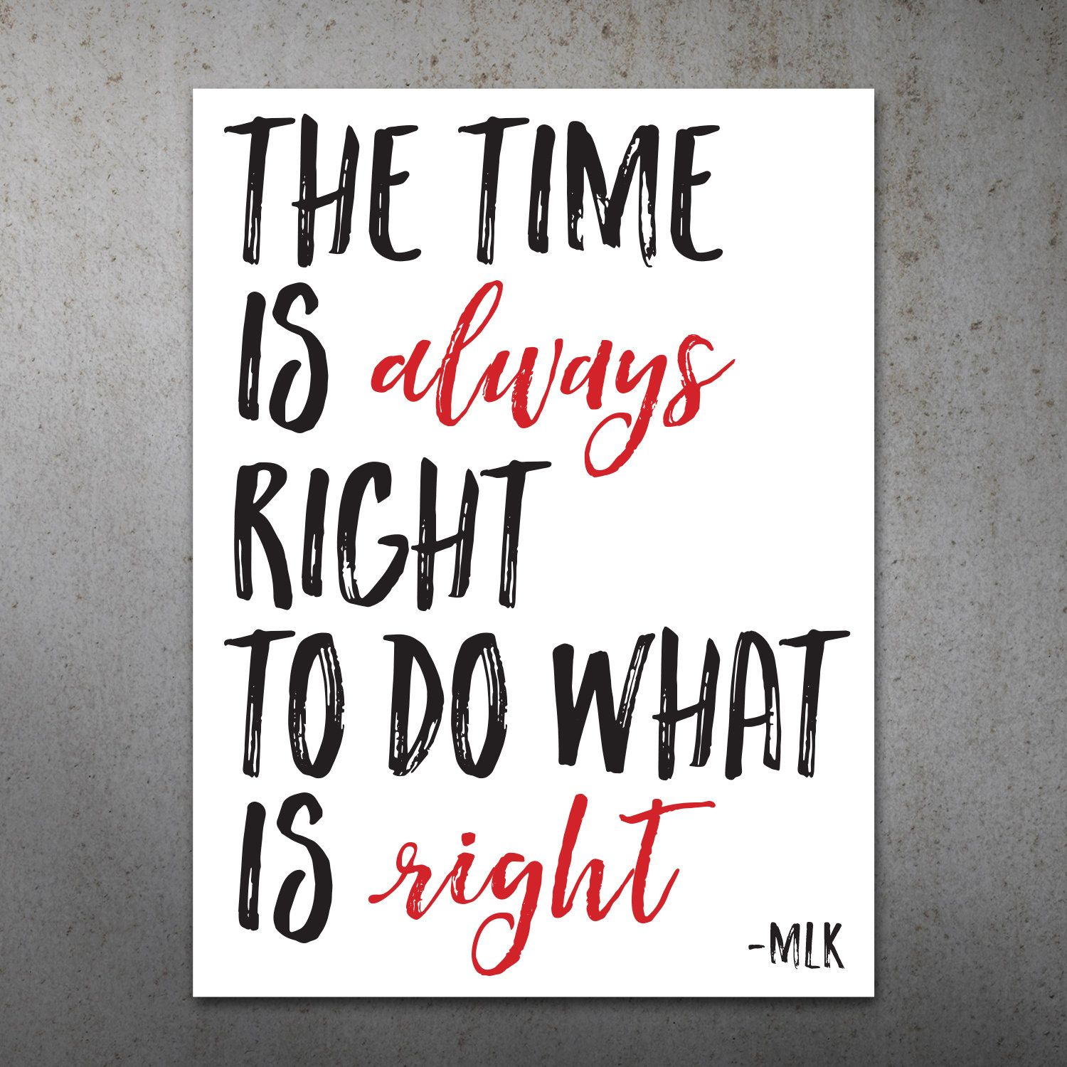 Time Is Always Right Mlk Quote Printable Protest Poster Etsy Mlk Quotes Printable Quotes Protest Posters