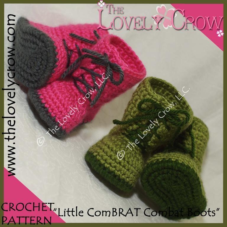 "Baby Combat Boots ""Little ComBrat Boots"" | Crochet baby, Baby ..."