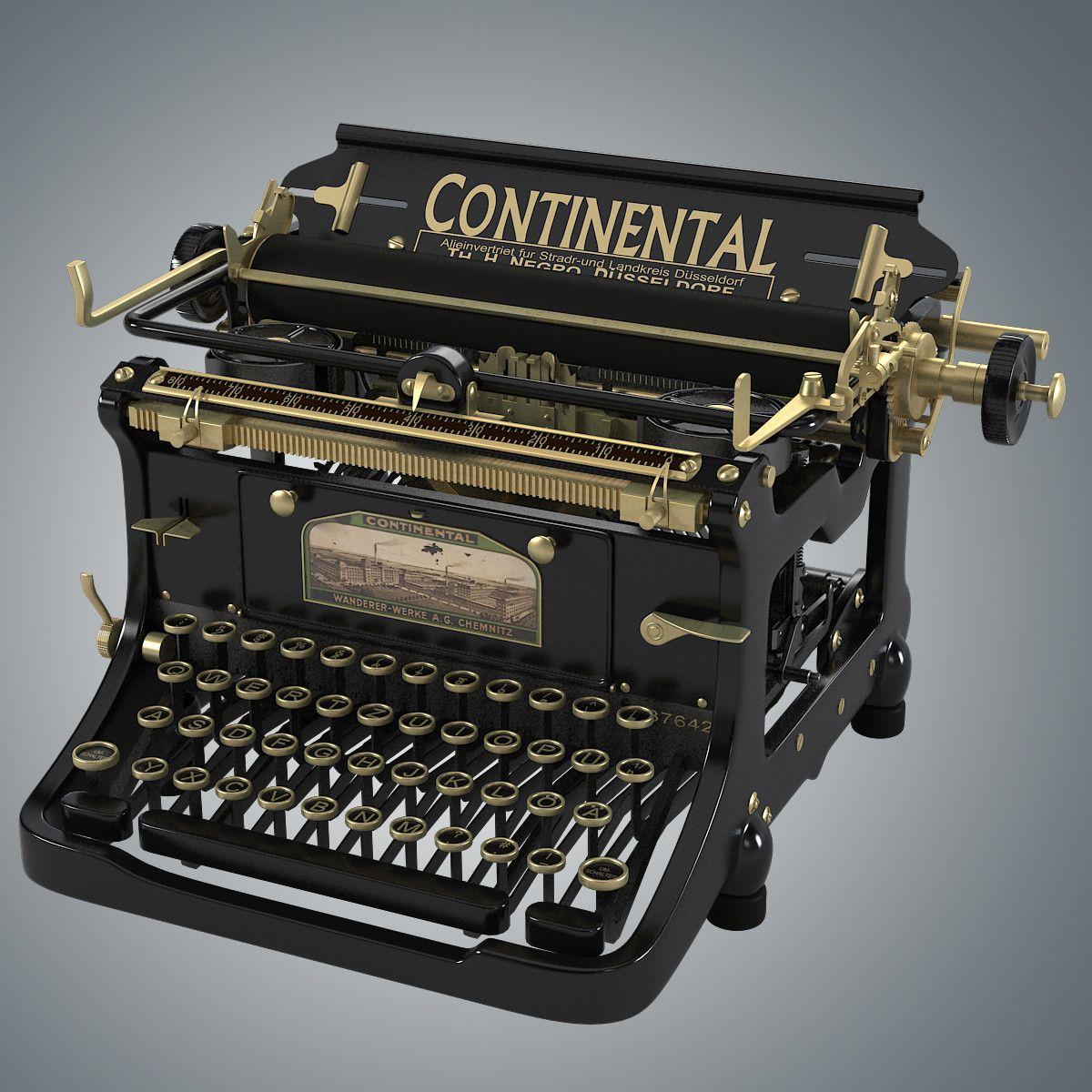 continental vintage typewriter 3d model rh typewriters. Black Bedroom Furniture Sets. Home Design Ideas