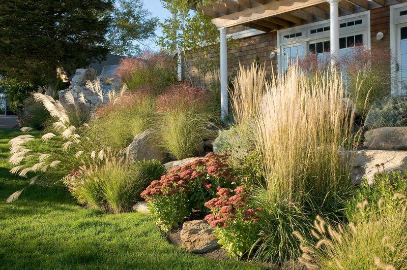 How To Design A Great Garden On A Sloped Lot Ornamental Grass Landscape Farmhouse Landscaping Sloped Garden