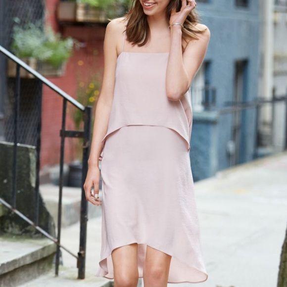 Banana Republic Blush Tiered Stry Midi Dress Pink