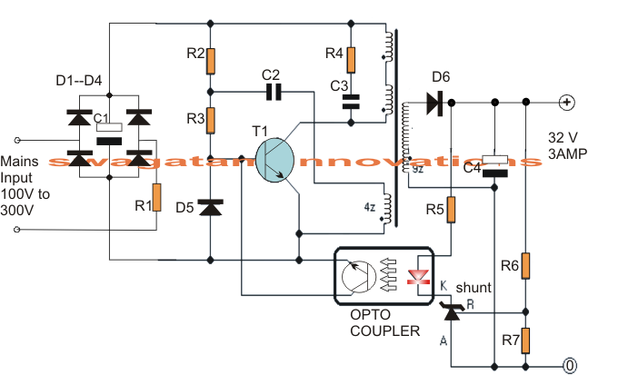 32v  3 amp smps circuit which may be particularly utilized