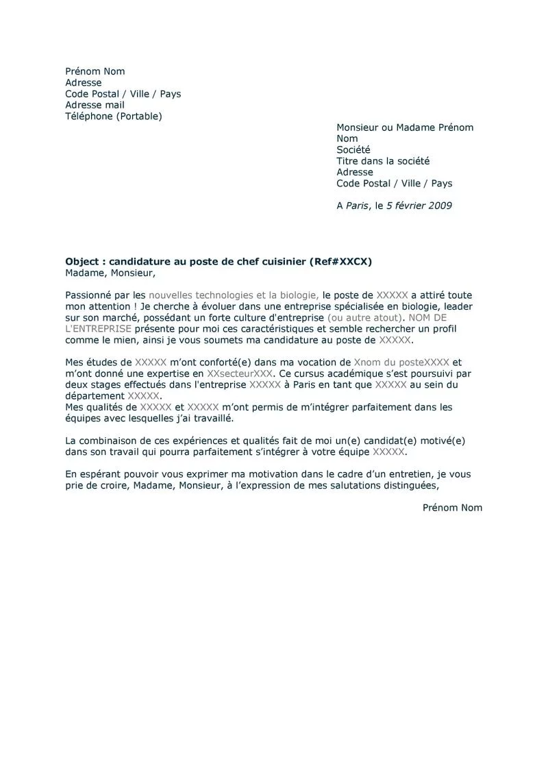 exemple de lettre de motivation pour un emploi   version