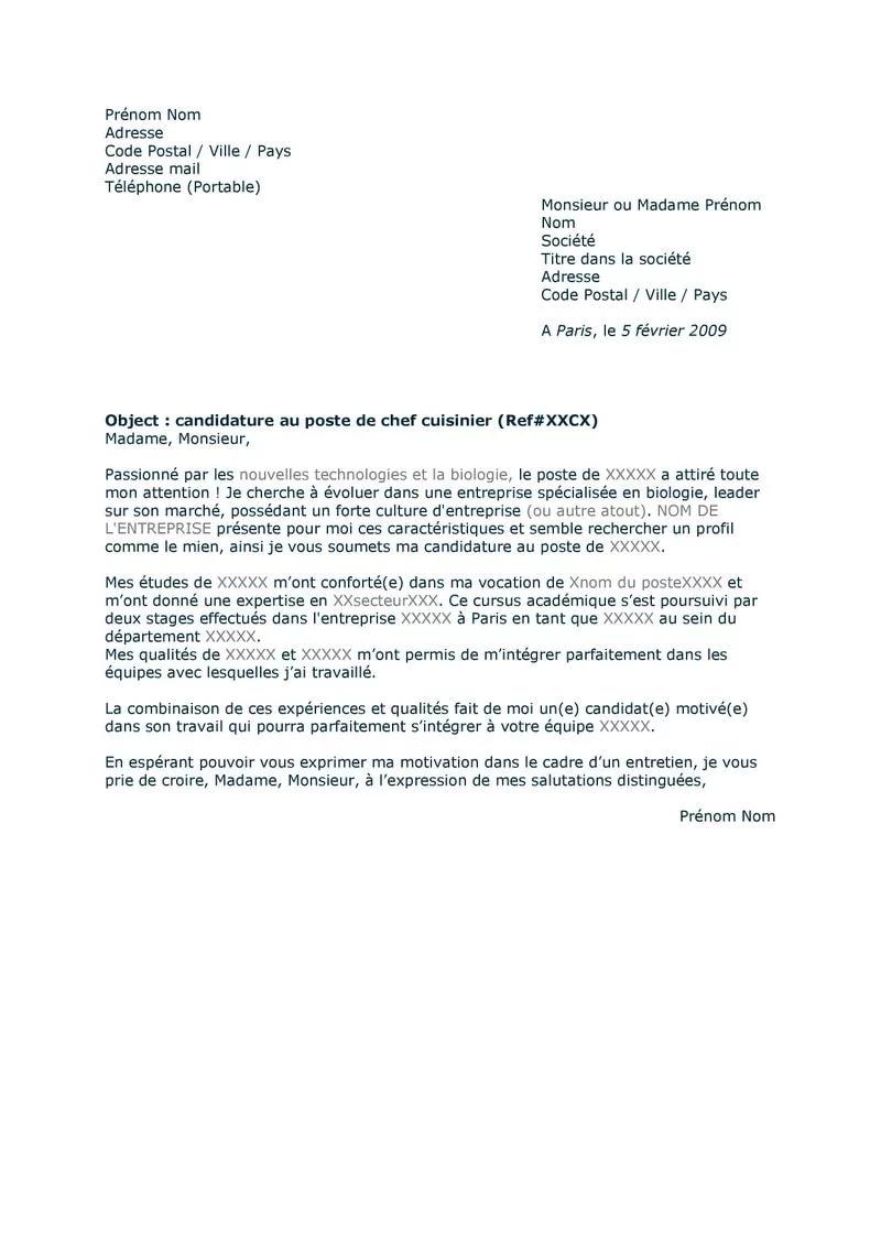 Exemple de lettre de motivation pour un emploi version