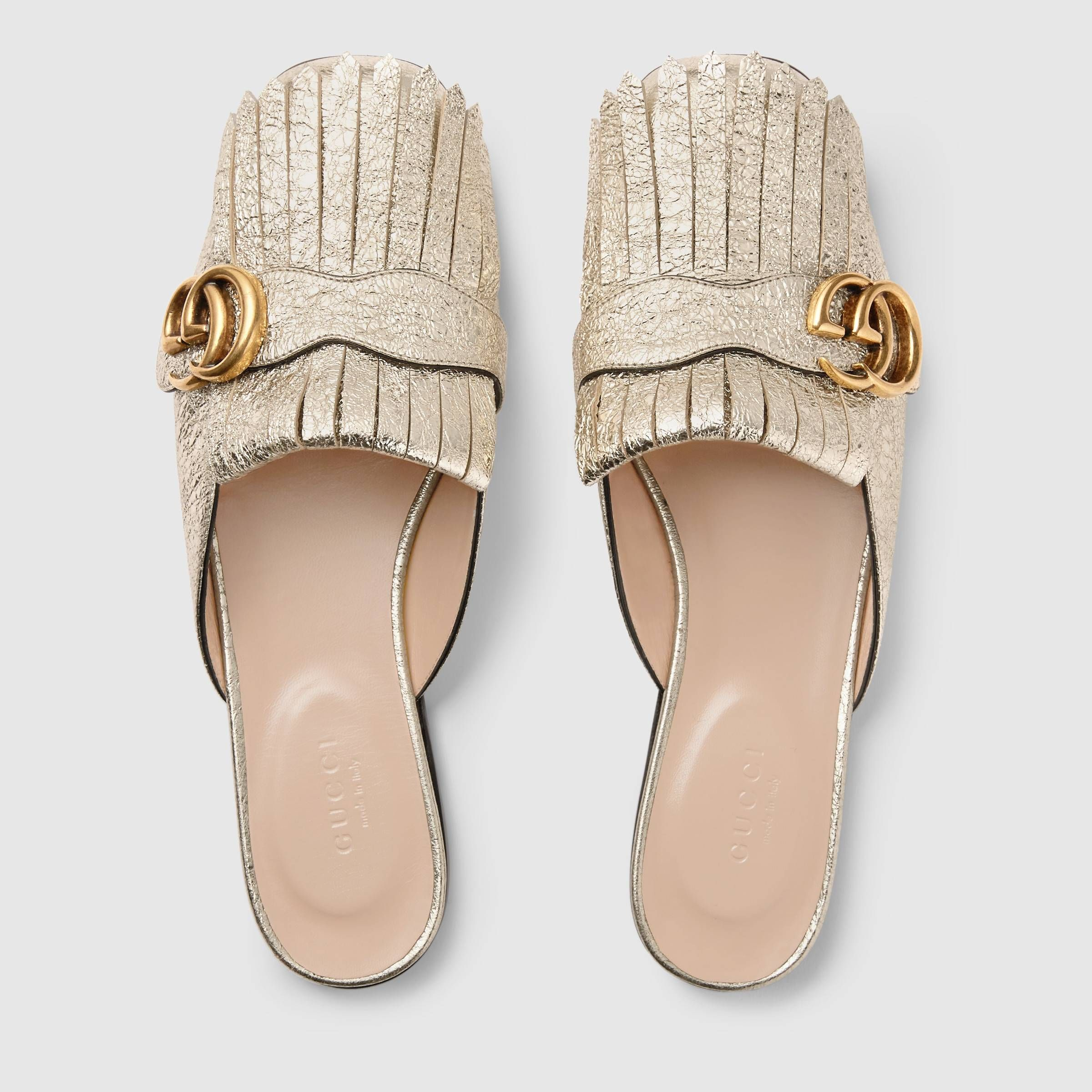 2e7e1e550 Marmont metallic laminate leather slipper - Gucci Women s Slippers   Mules  474513DKT007100