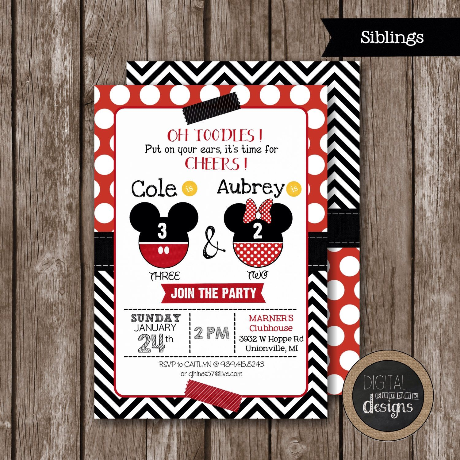 Mickey & Minnie Mouse Birthday Invitation - Oh TOODLES Put On Your ...