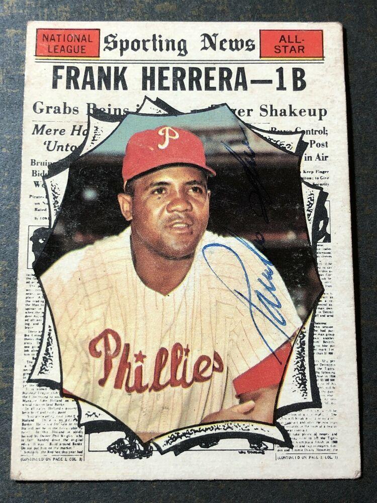 1961 Topps Sporting News FRANK HERRERA Signed Baseball