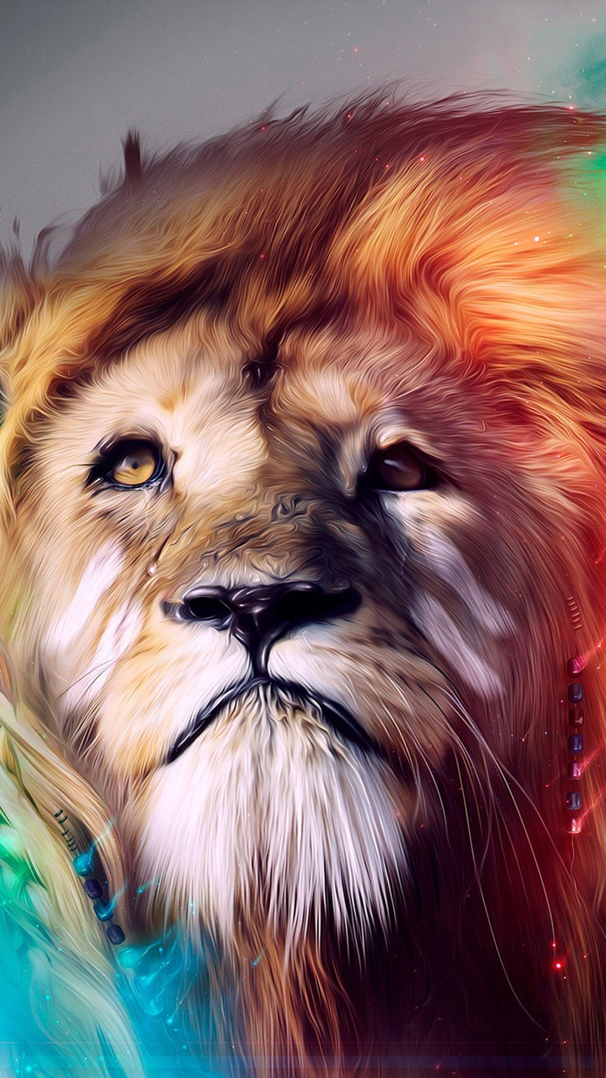 Red, Turquoise, orange, lion, abstract, apple, wallpaper
