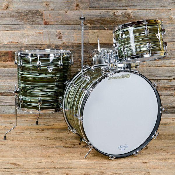 Ludwig Standard 13/16/22/5x14 4pc Drum Kit Avocado Strata Late 60s