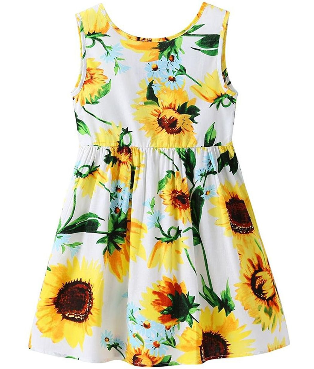 bc13ac2ff13f3 Sleeveless,tank top,adorable sunflower print sundress. Fashion beautiful  bow-tie on the back.