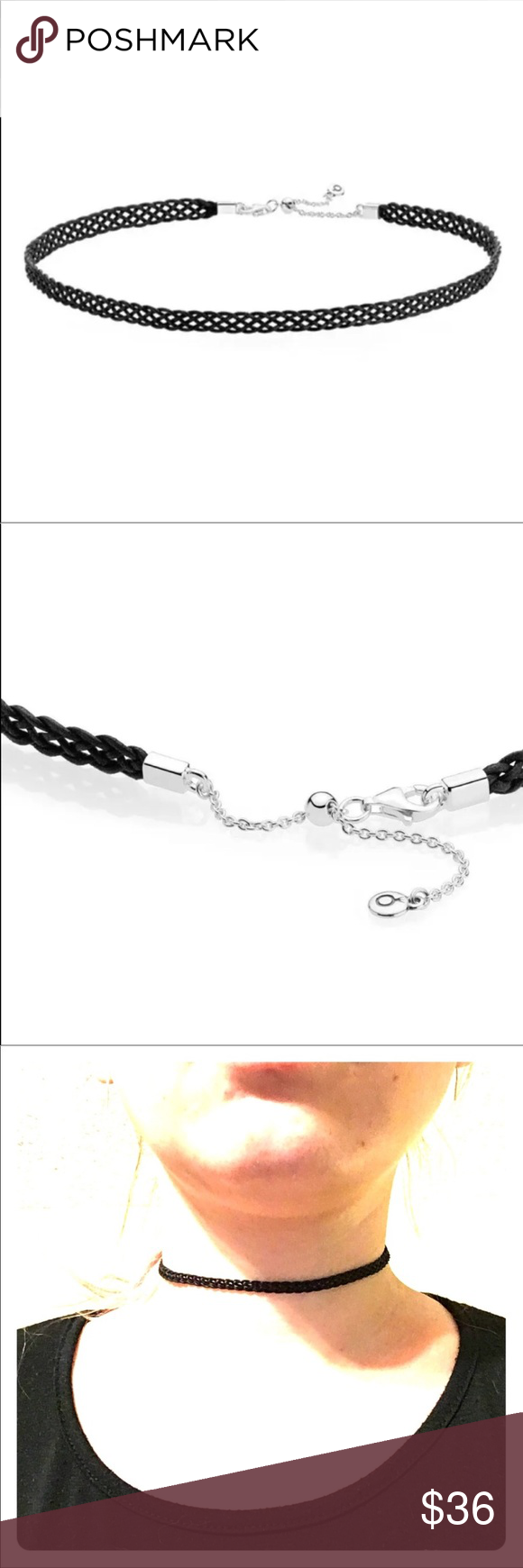"f63ab0ac4 Pandora black woven choker necklace Authentic Pandora black woven cord choker  necklace 12.5""/32cm"