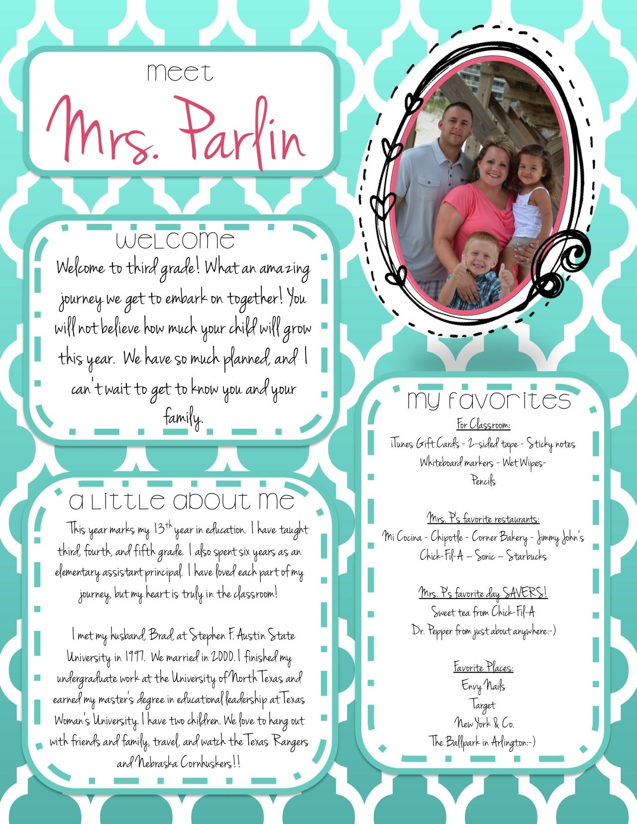 Free Editable Meet The Teacher Letter  Student-Teacher -9294