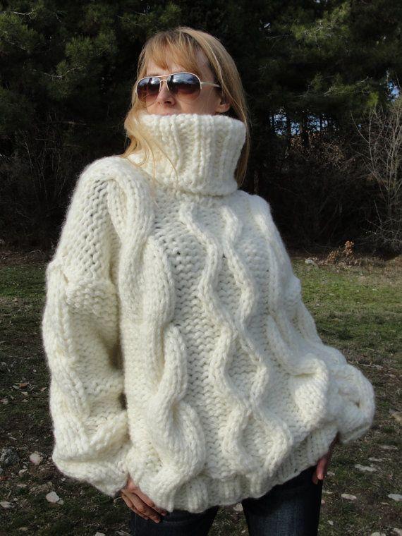 Wool sweater hand knitted wool jumper handmade wool pullover