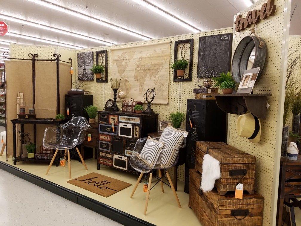 Hobby Lobby travel wall decor and furniture display