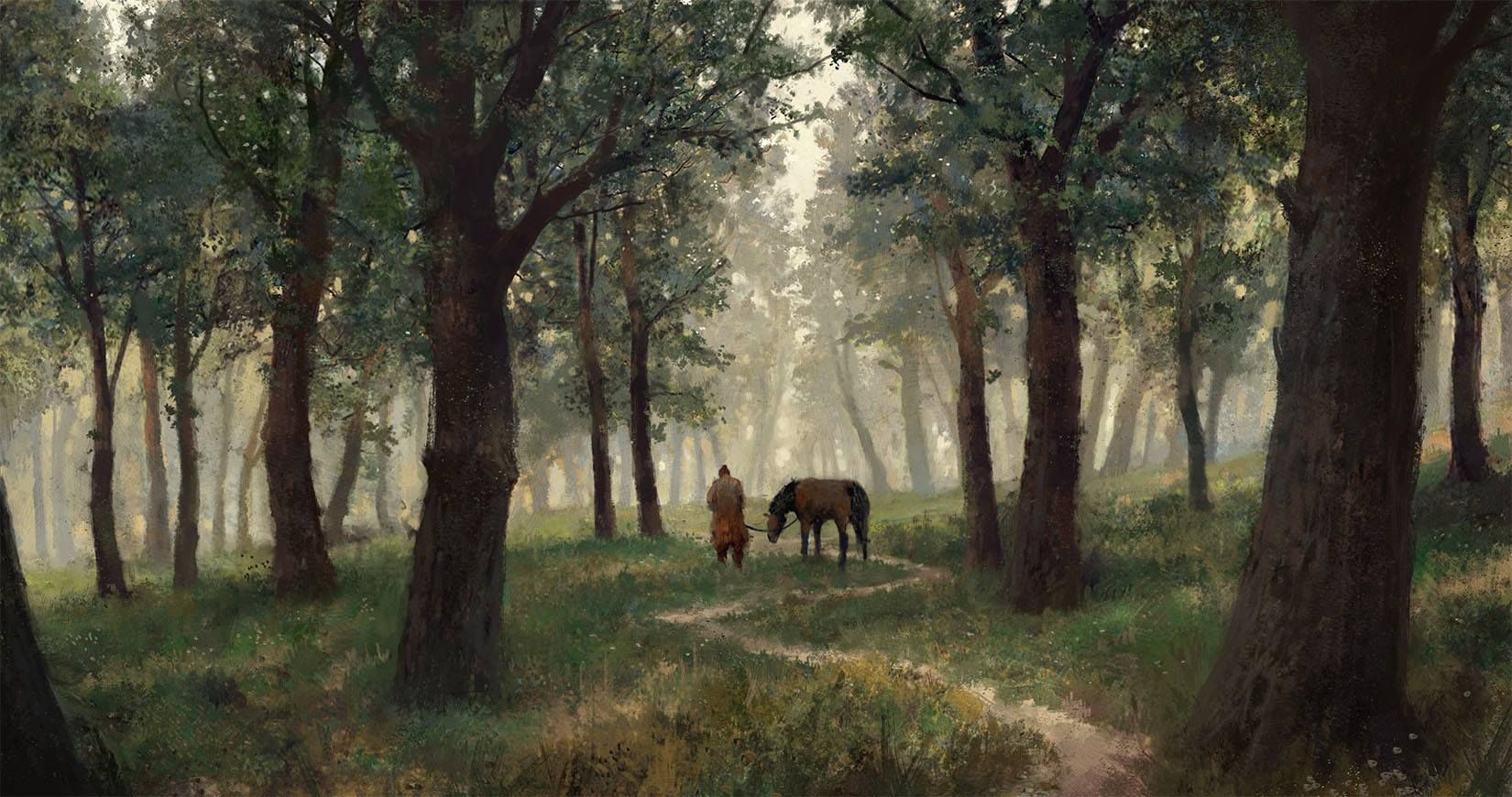 """Jonas De Ro - """"here is a painting I did this morning studying the technique and style of Russian landscape painter Ivan Shishkin."""""""