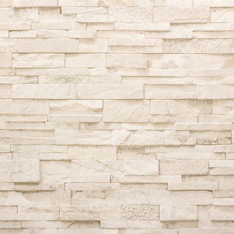 Vliestapete Stein 3D Optik beige creme Mauer P+S 02363-50 - steintapete beige wohnzimmer
