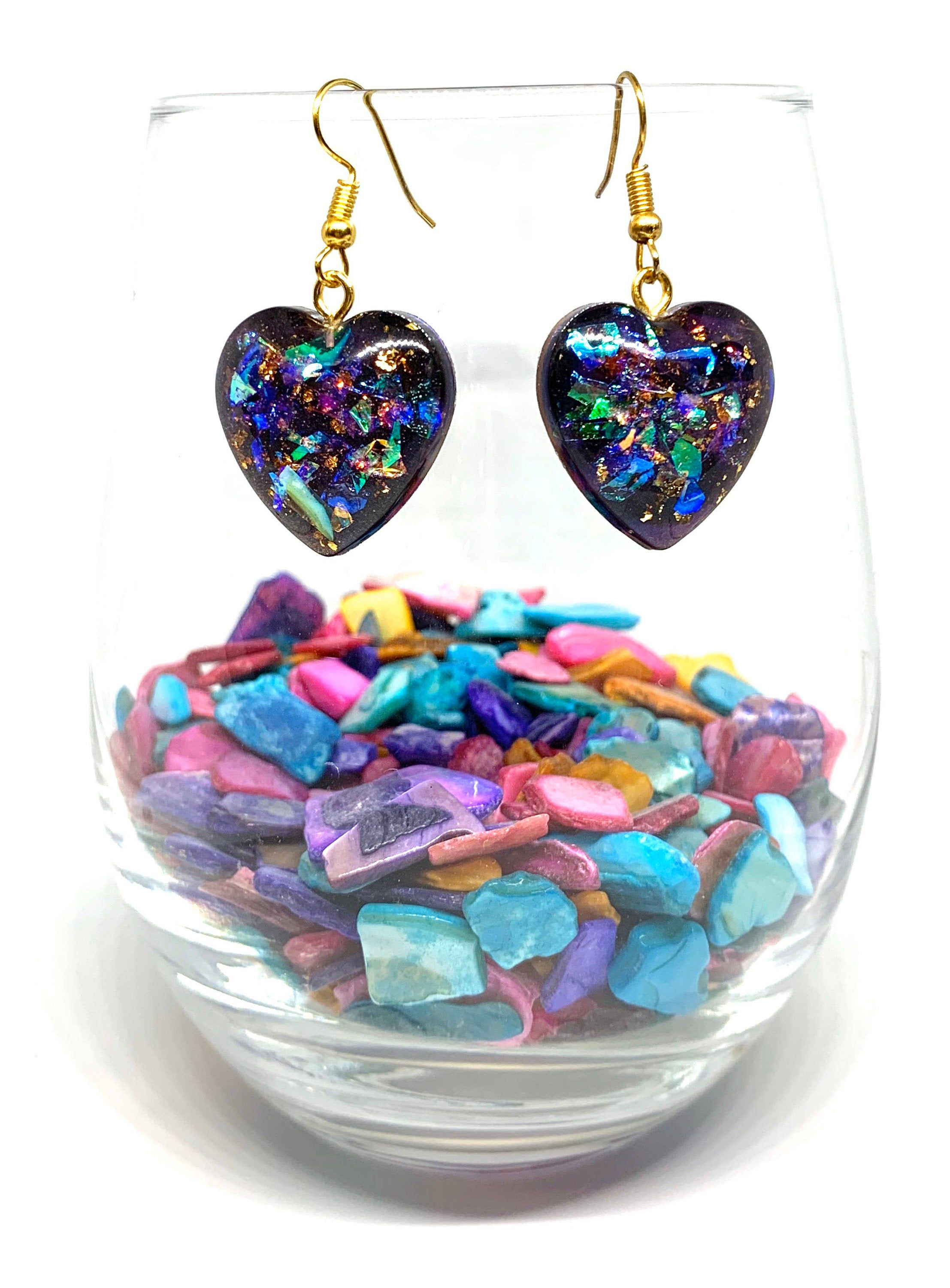 Deep Purple Blue Resin Heart Drop Earrings In 2020 Resin Jewelry