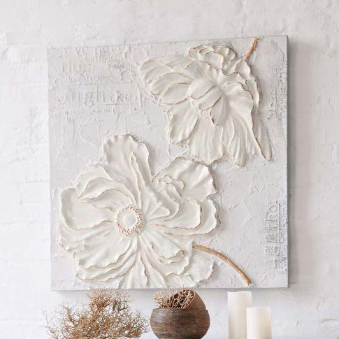 Bild White Flower, 3D Optik, Acryl/ Leinen Vorderansicht