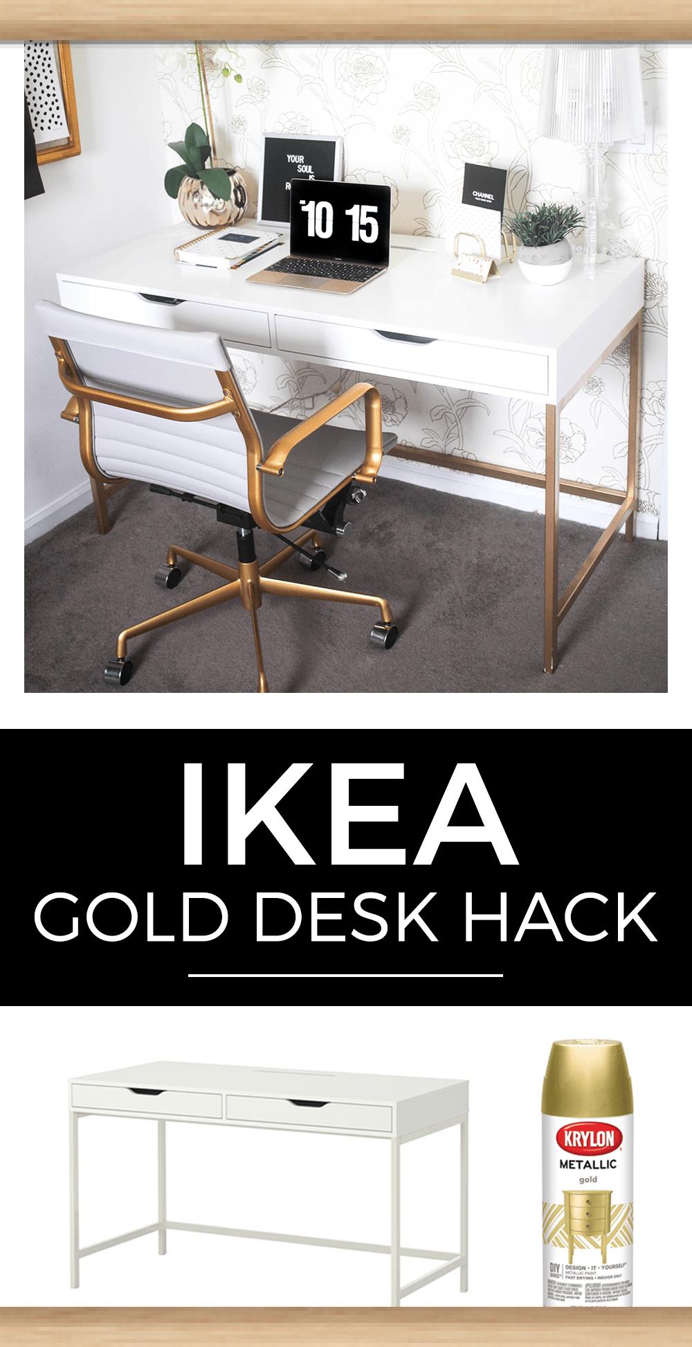 Schreibtisch In Weiss Und Gold Ikea Hack Gold Hack Ikea Schreibtisch Und Ikea Furniture Hacks Desk Hacks Furniture Hacks