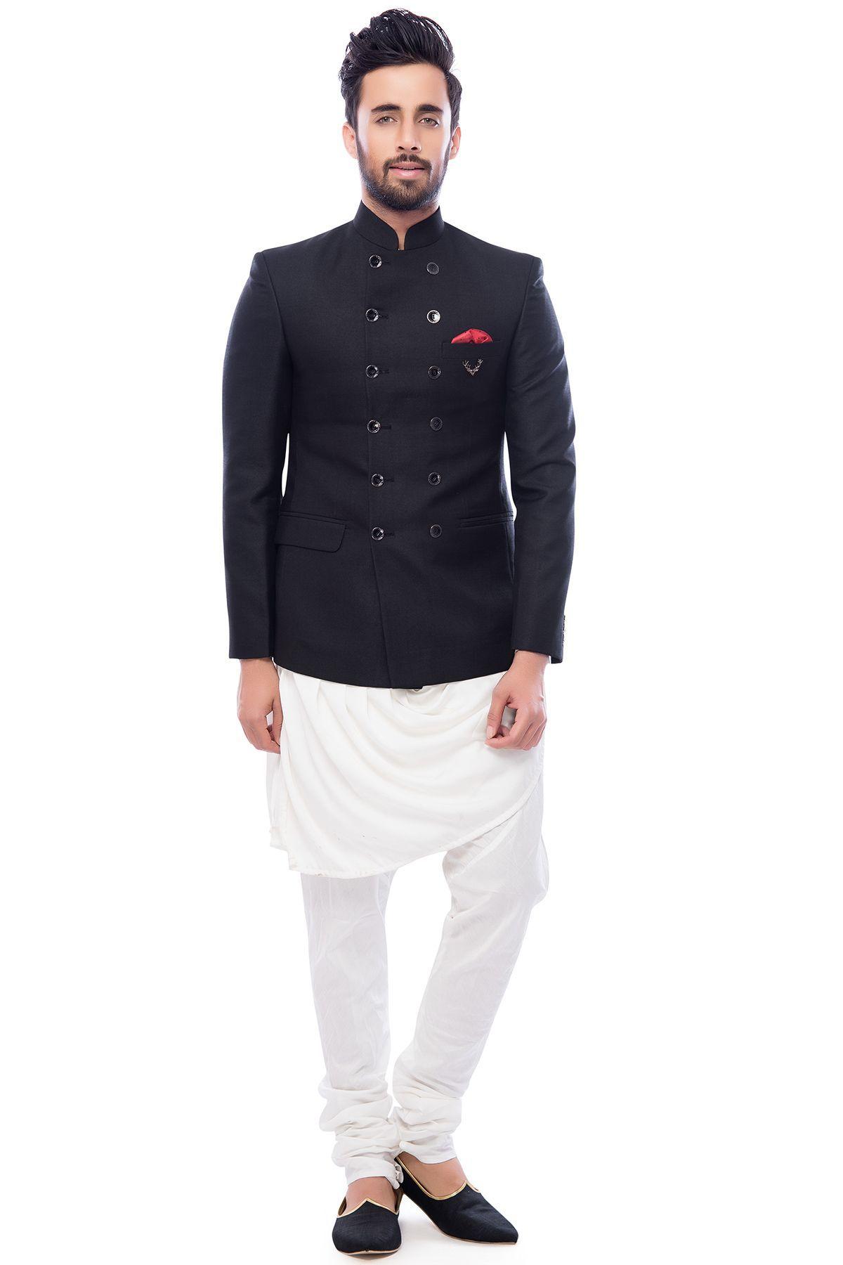 Black \u0026amp; White Italian Jodhpuri Suit